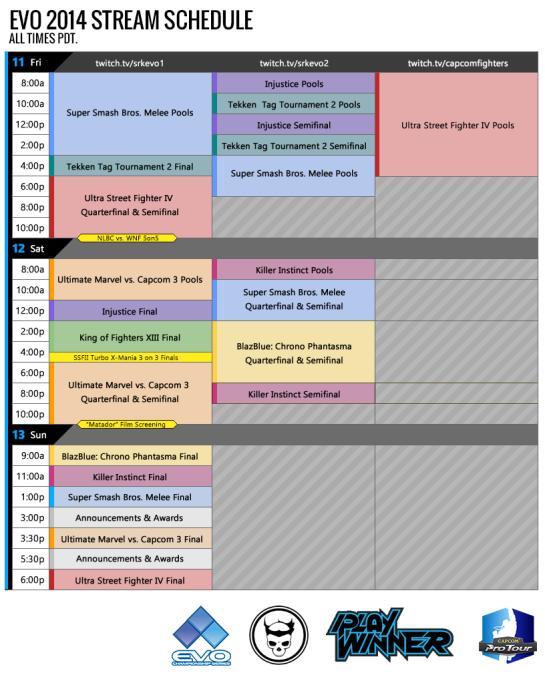 EVO 2014 Stream Schedule